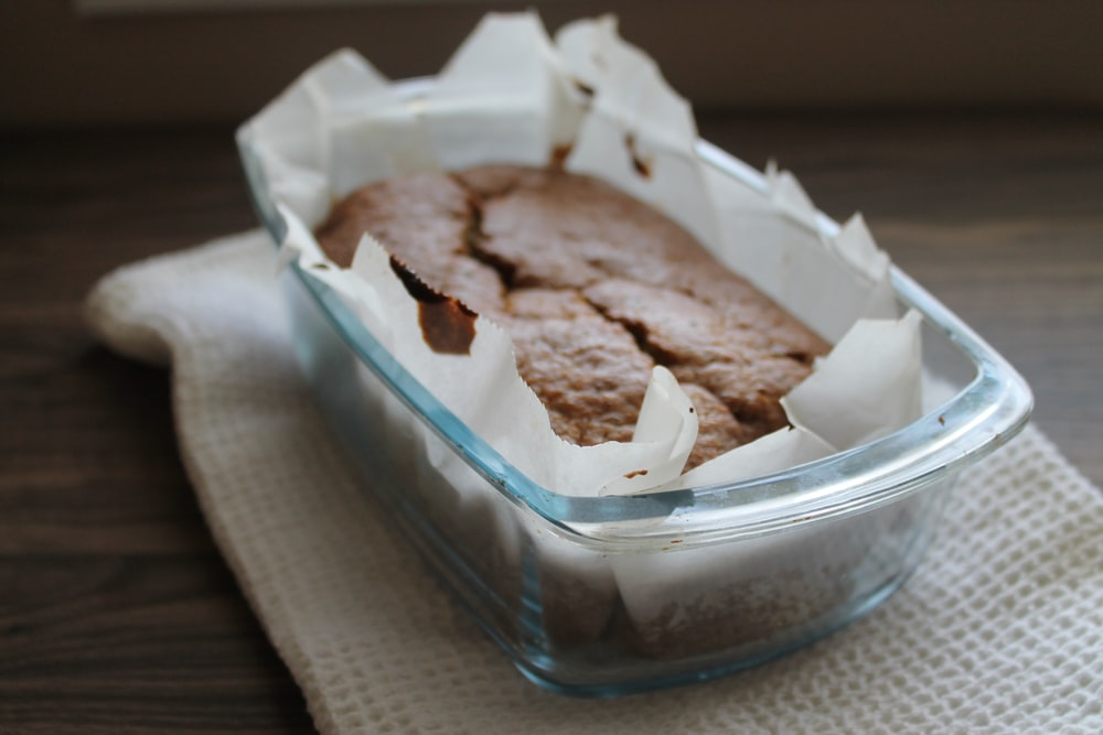 brown bread in clear plastic container