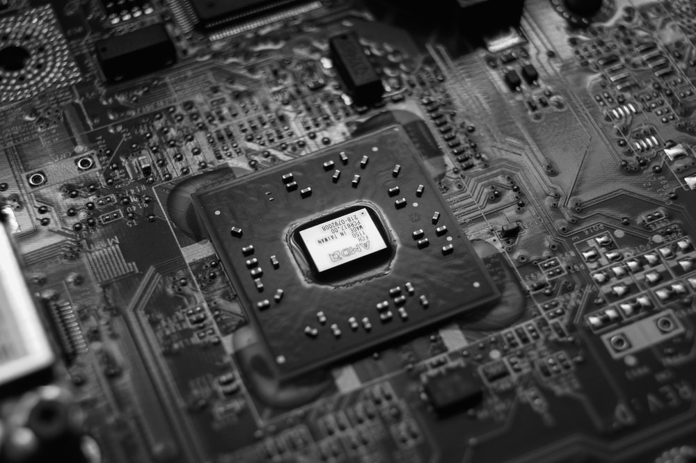 black and white circuit board
