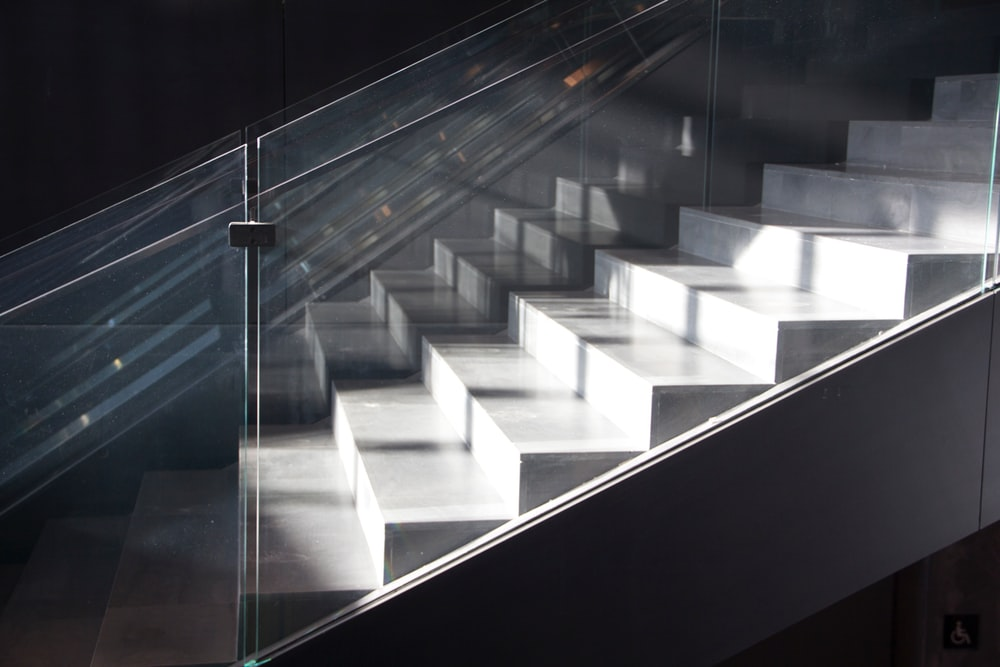 white and black glass wall