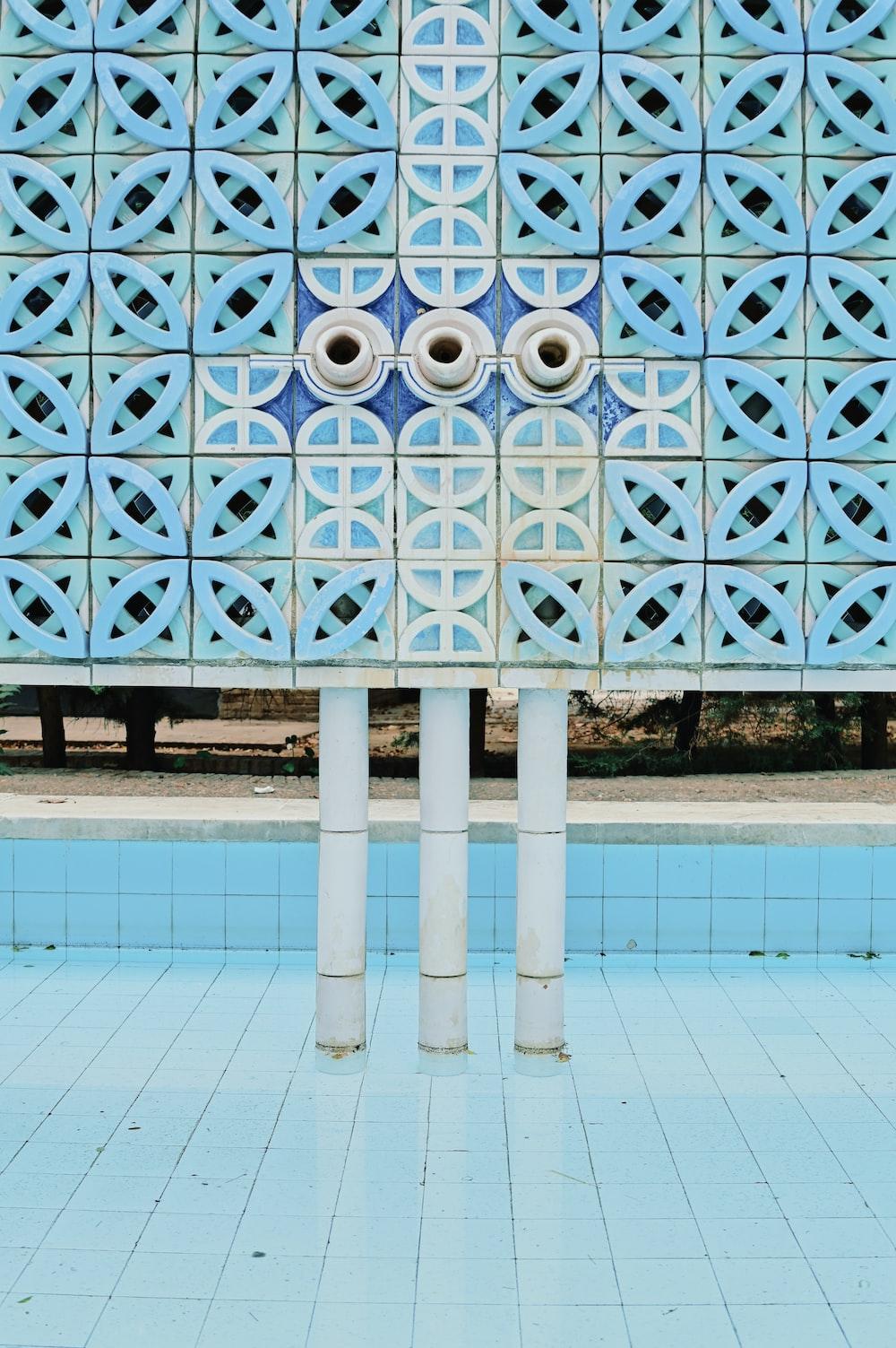 blue and white floral concrete building