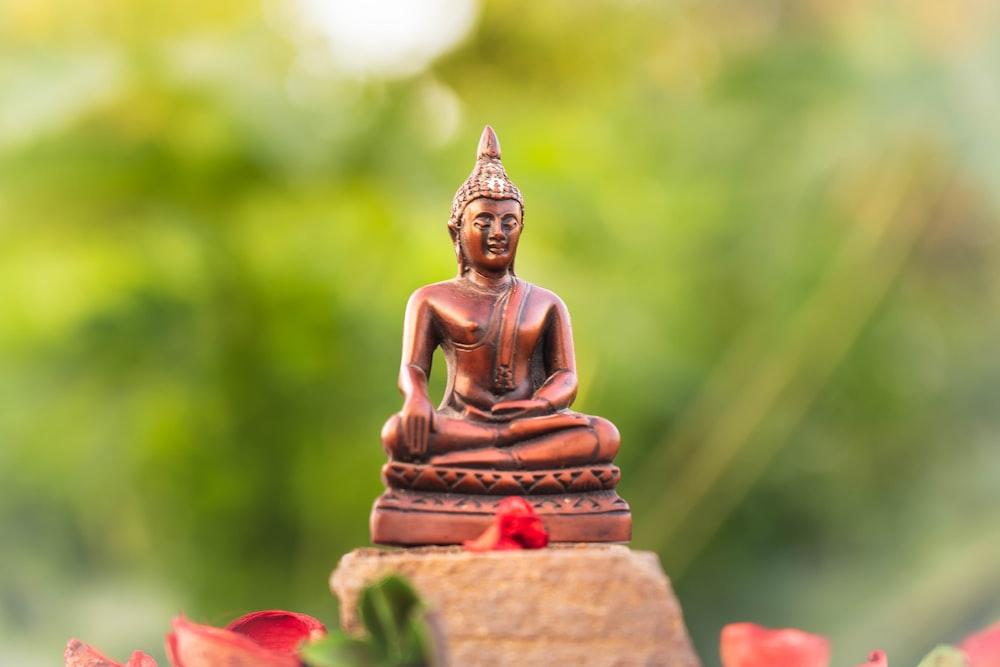 gold buddha figurine on brown concrete surface