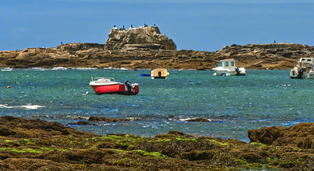 red and white boat on brown rock formation during daytime