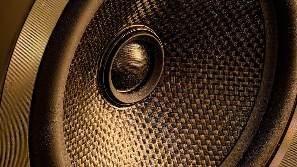 black and brown round speaker