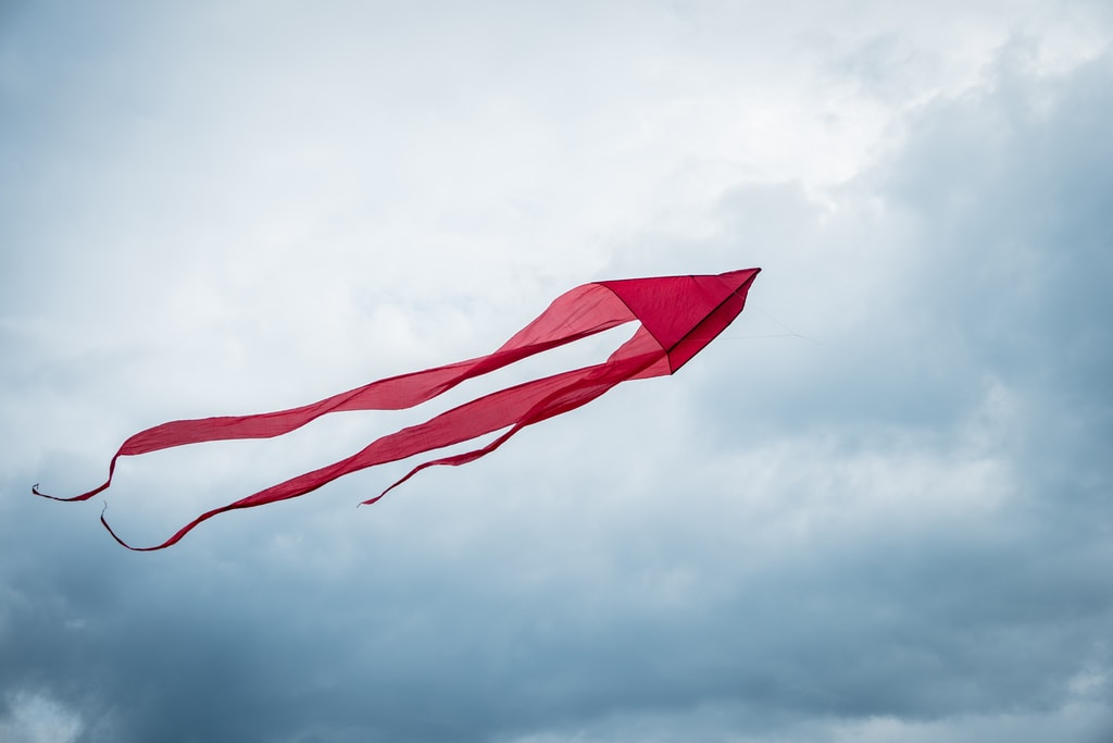 red flag on pole under cloudy sky