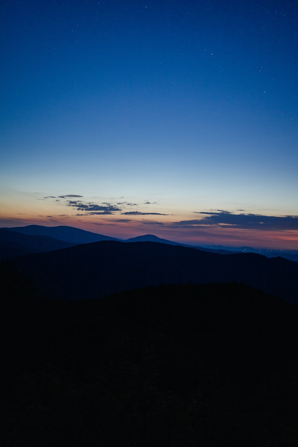 silhouette of mountains under blue sky during sunset