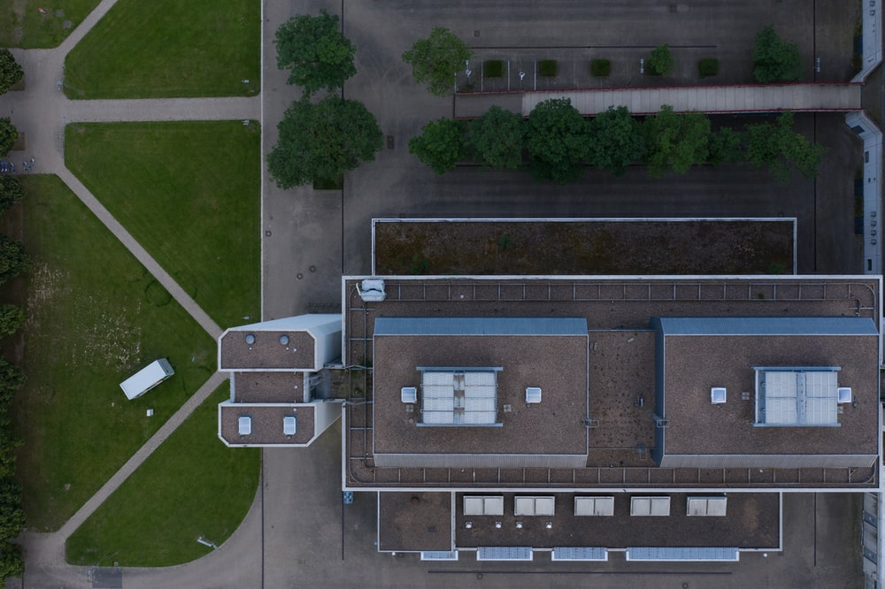 aerial view of brown and gray concrete building