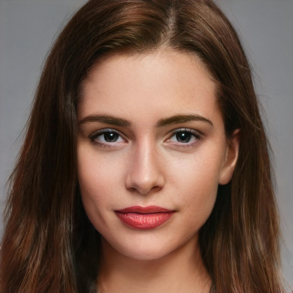 woman with red lipstick and brown eyes