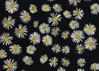 black and white floral textile