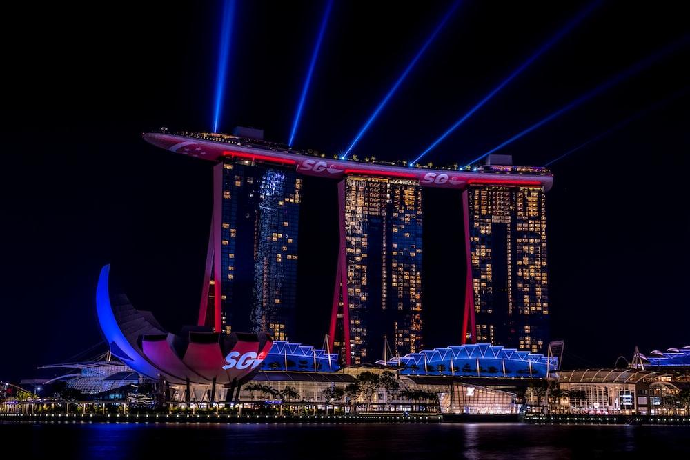 purple lighted bridge during night time