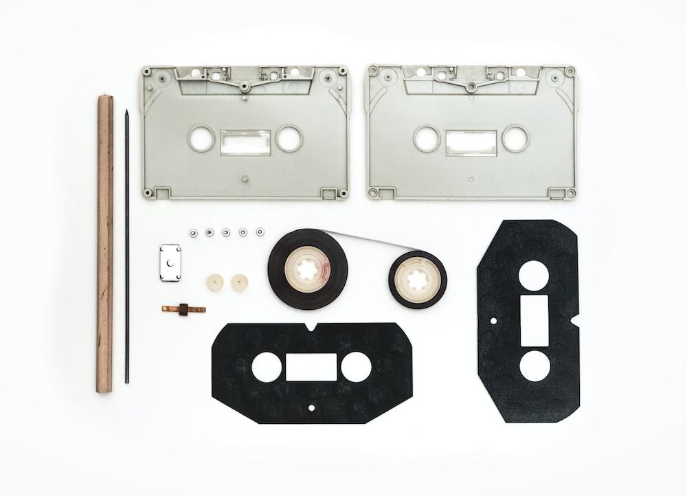 white and black cassette tape