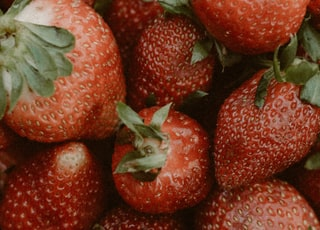 strawberries on white ceramic plate