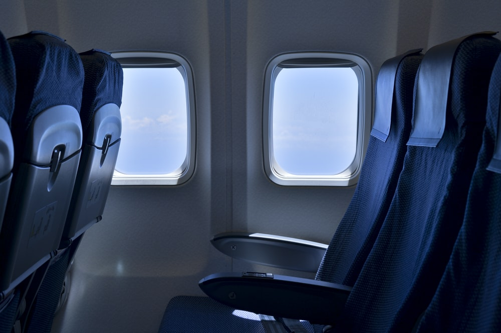black and white airplane seat