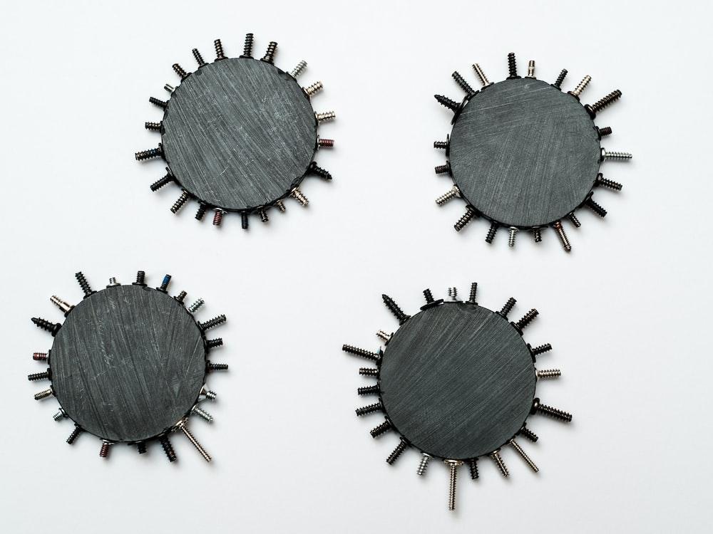 black and gray round ornament