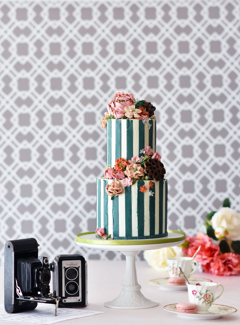 green and white cake on white table