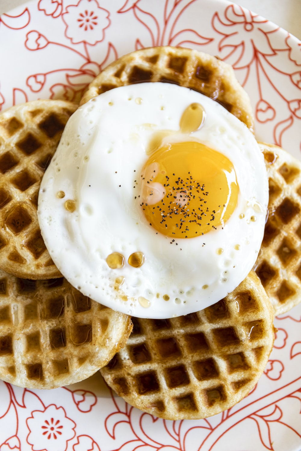 waffle with egg on top