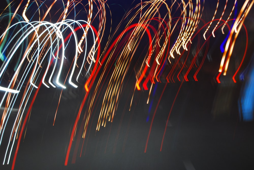 red and blue light streaks