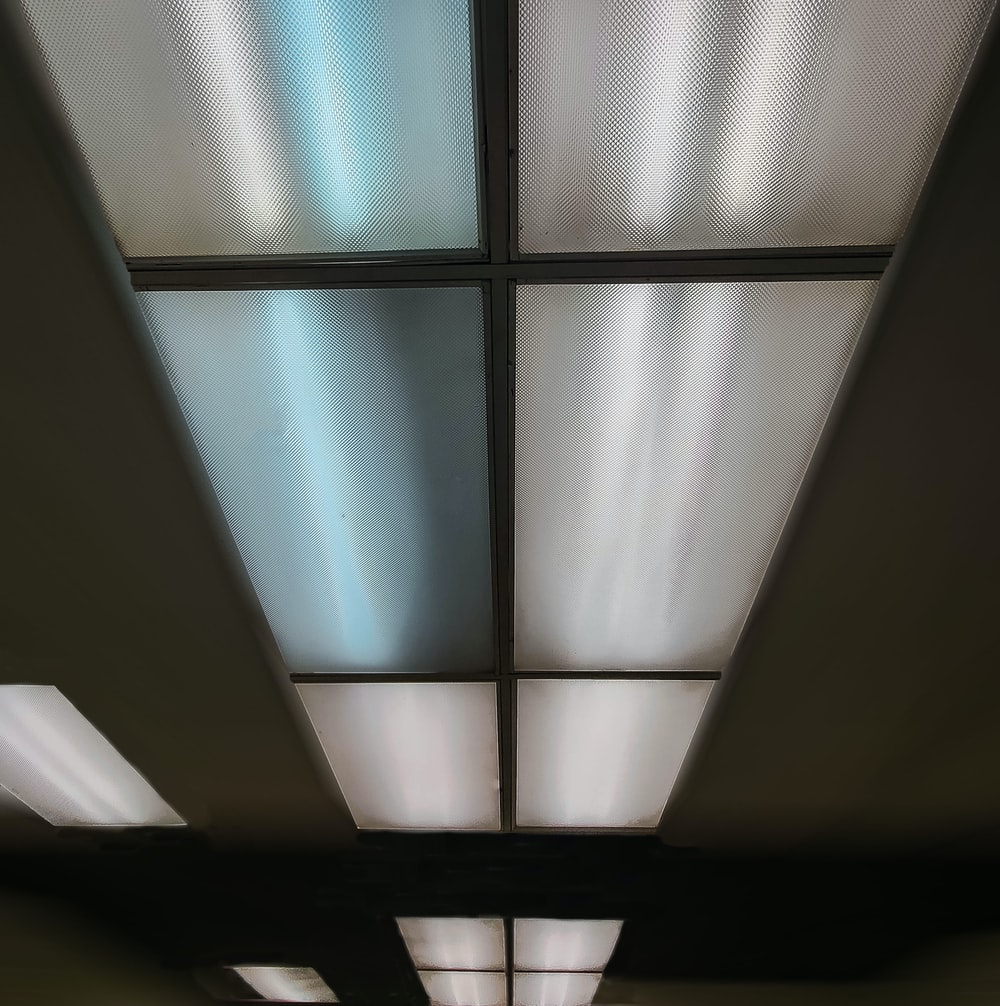 white and black ceiling tiles