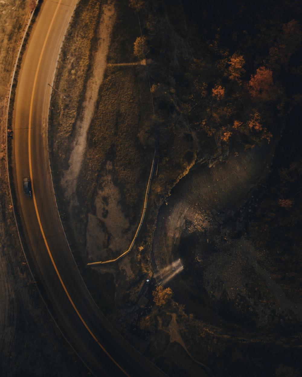 birds eye view of road