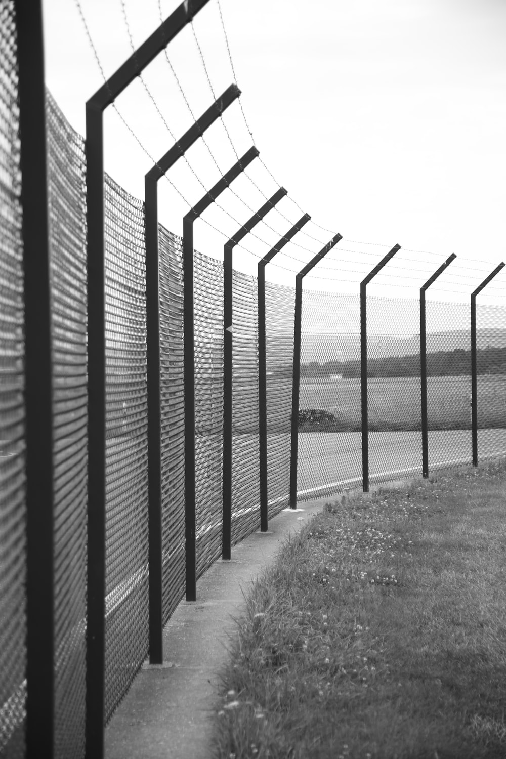 grayscale photo of metal fence