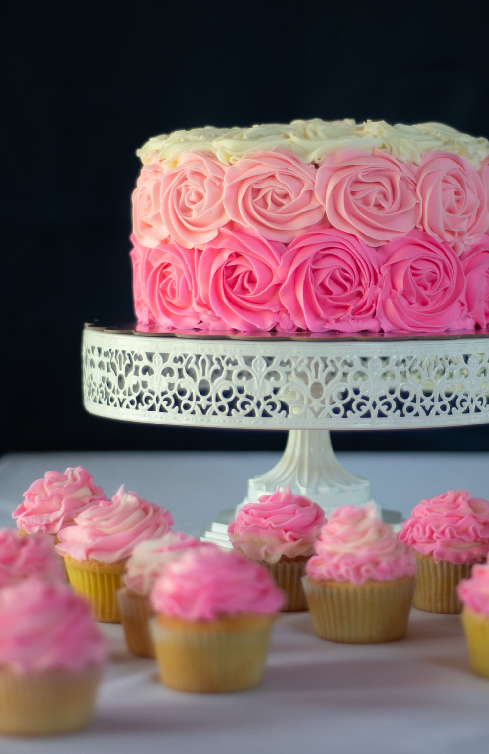 pink and white floral cake