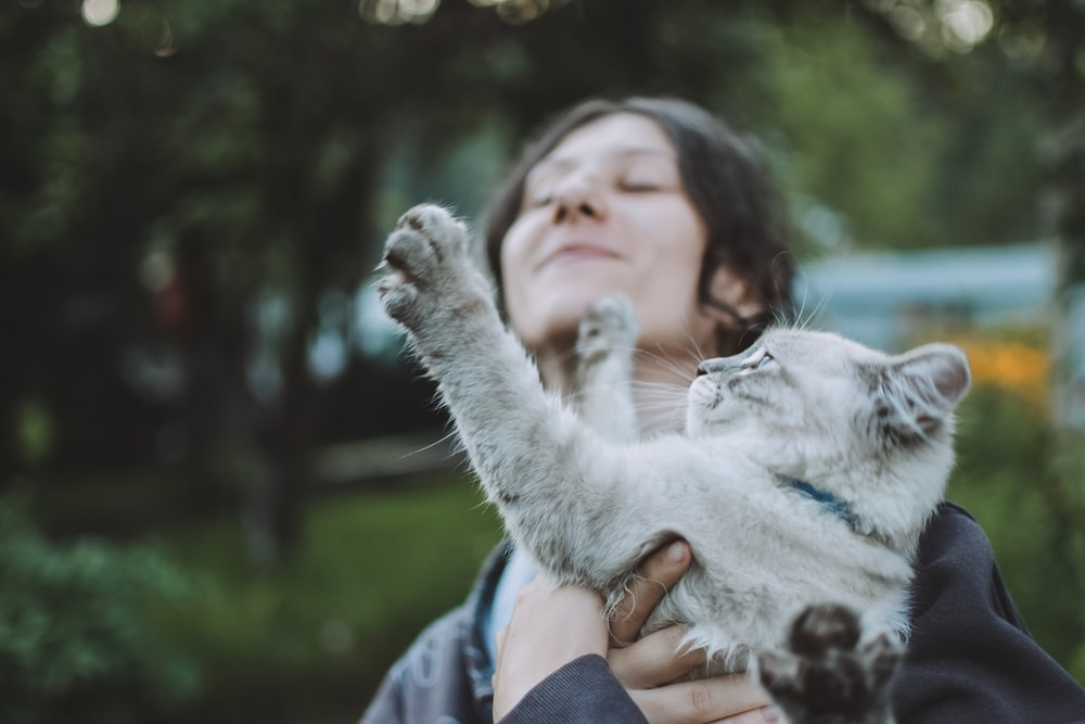 woman in blue and white jacket holding white cat
