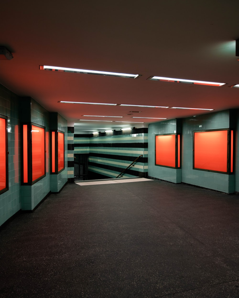 red and black hallway with red walls