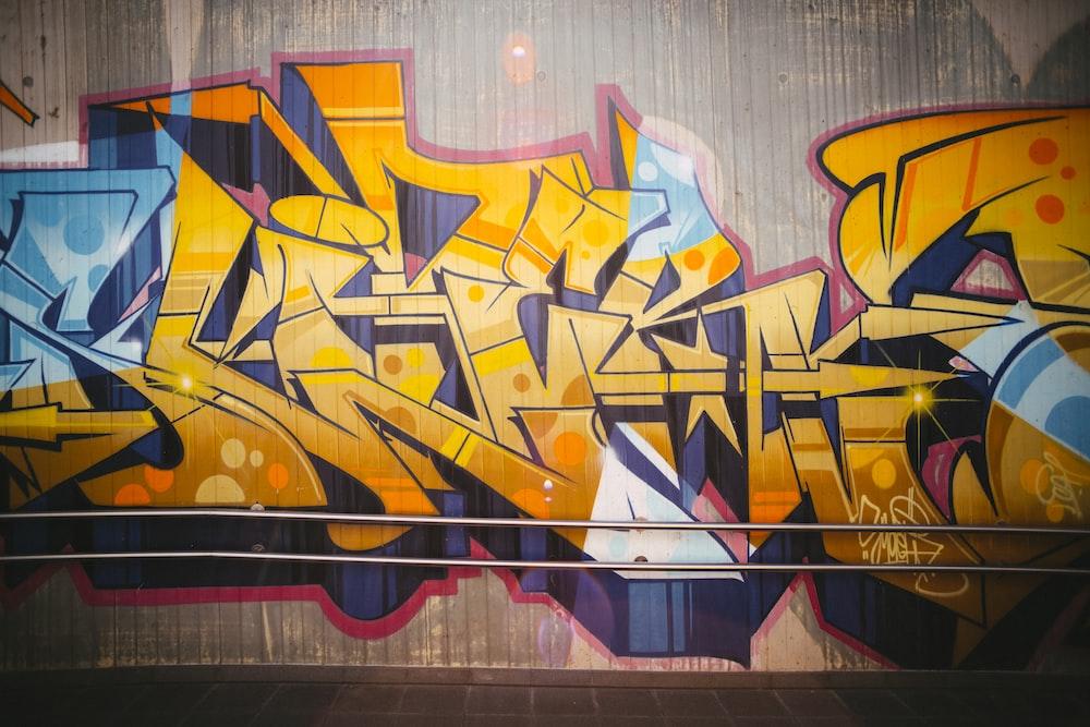 red yellow and purple graffiti