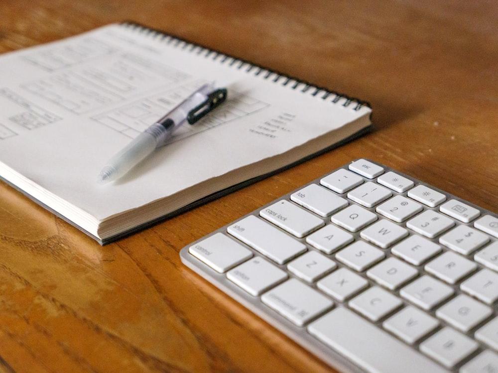 white click pen on white ruled paper