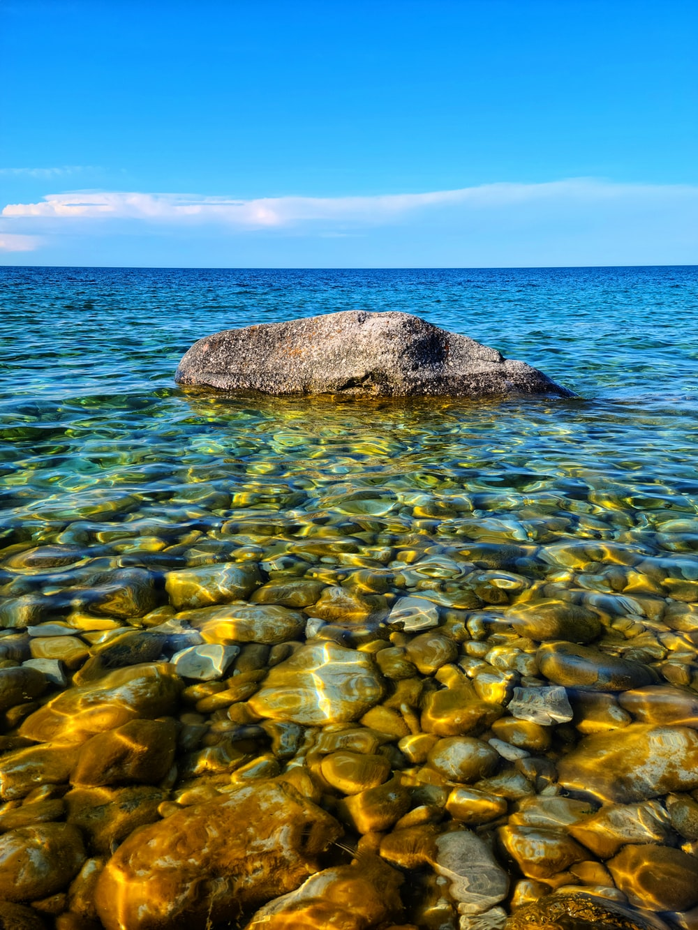 brown rock on body of water during daytime