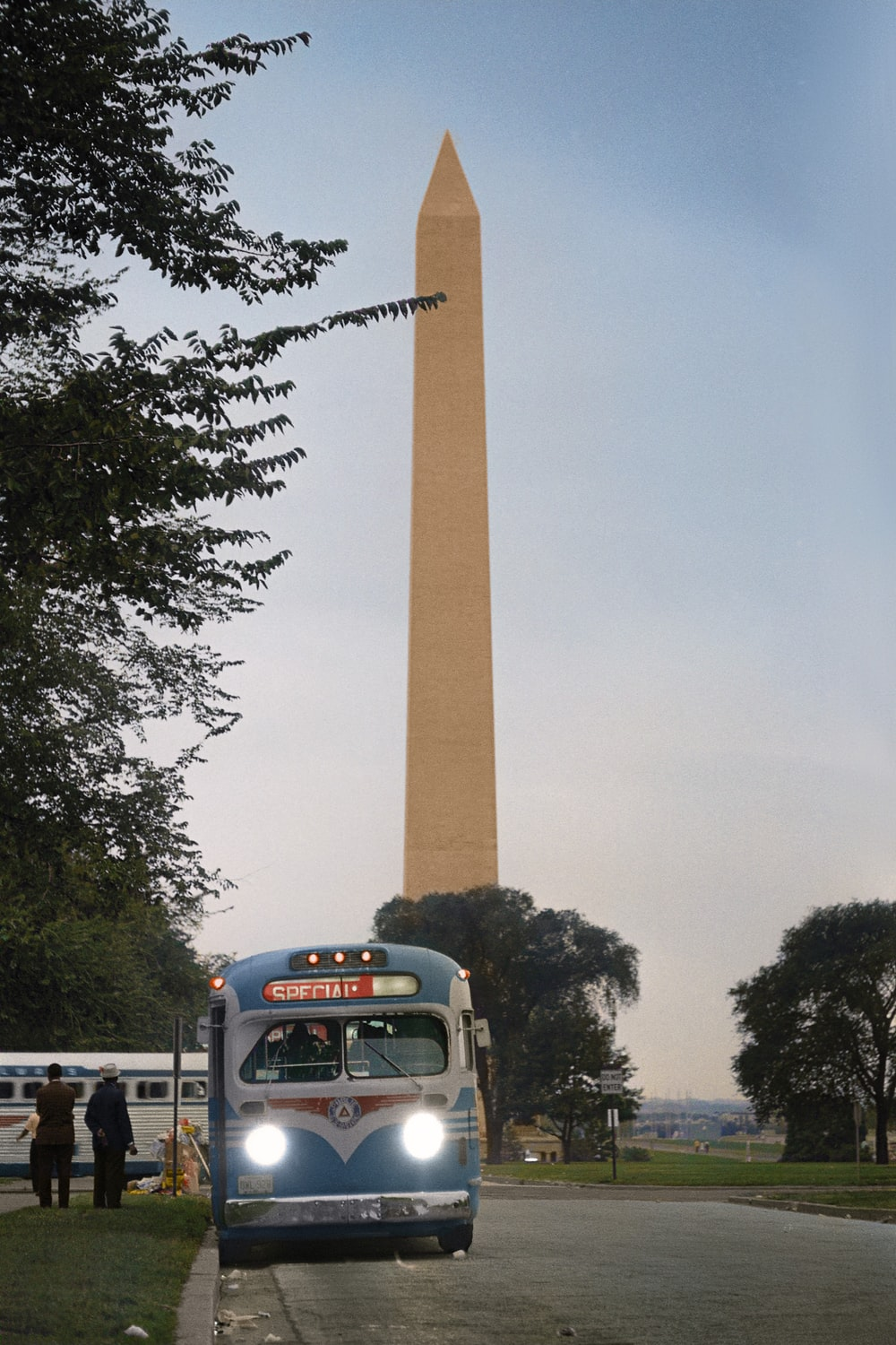 Buses departing in front of the Washington Monument after the Civil Rights March on Washington, D.C.