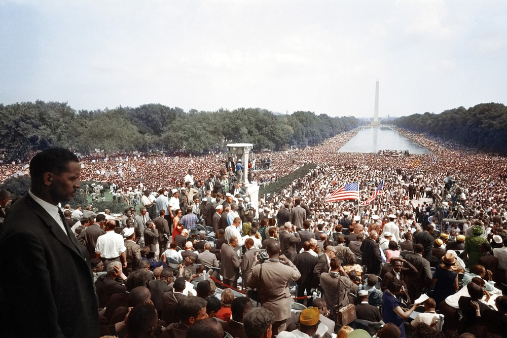 During the March on Washington a crowd stretches from the Lincoln Memorial to the Washington Monument