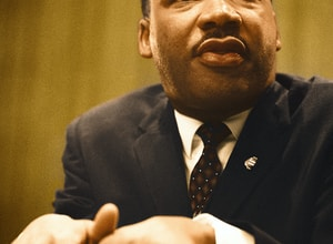 Dr. Martin Luther King, Jr. gives a speech