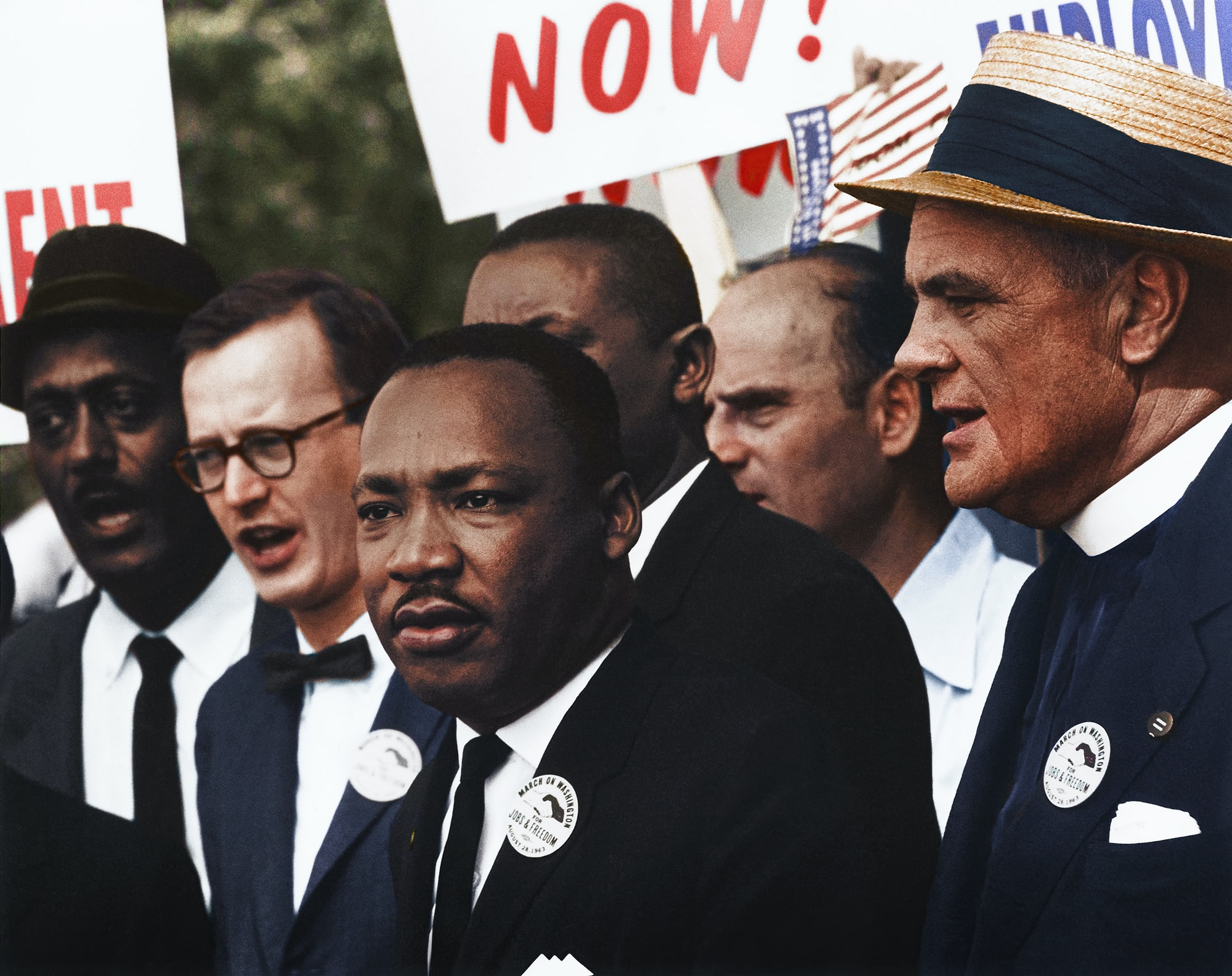 "Caption reads, ""[Civil Rights March on Washington, D.C. [Dr. Martin Luther King, Jr. and Mathew Ahmann in a crowd.], 8/28/1963"" Original black and white negative by Rowland Scherman. Taken August 28th, 1963, Washington D.C, United States (The National Archives and Records Administration). Colorized by Jordan J. Lloyd. U.S. Information Agency. Press and Publications Service. ca. 1953-ca. 1978. https://catalog.archives.gov/id/542015"