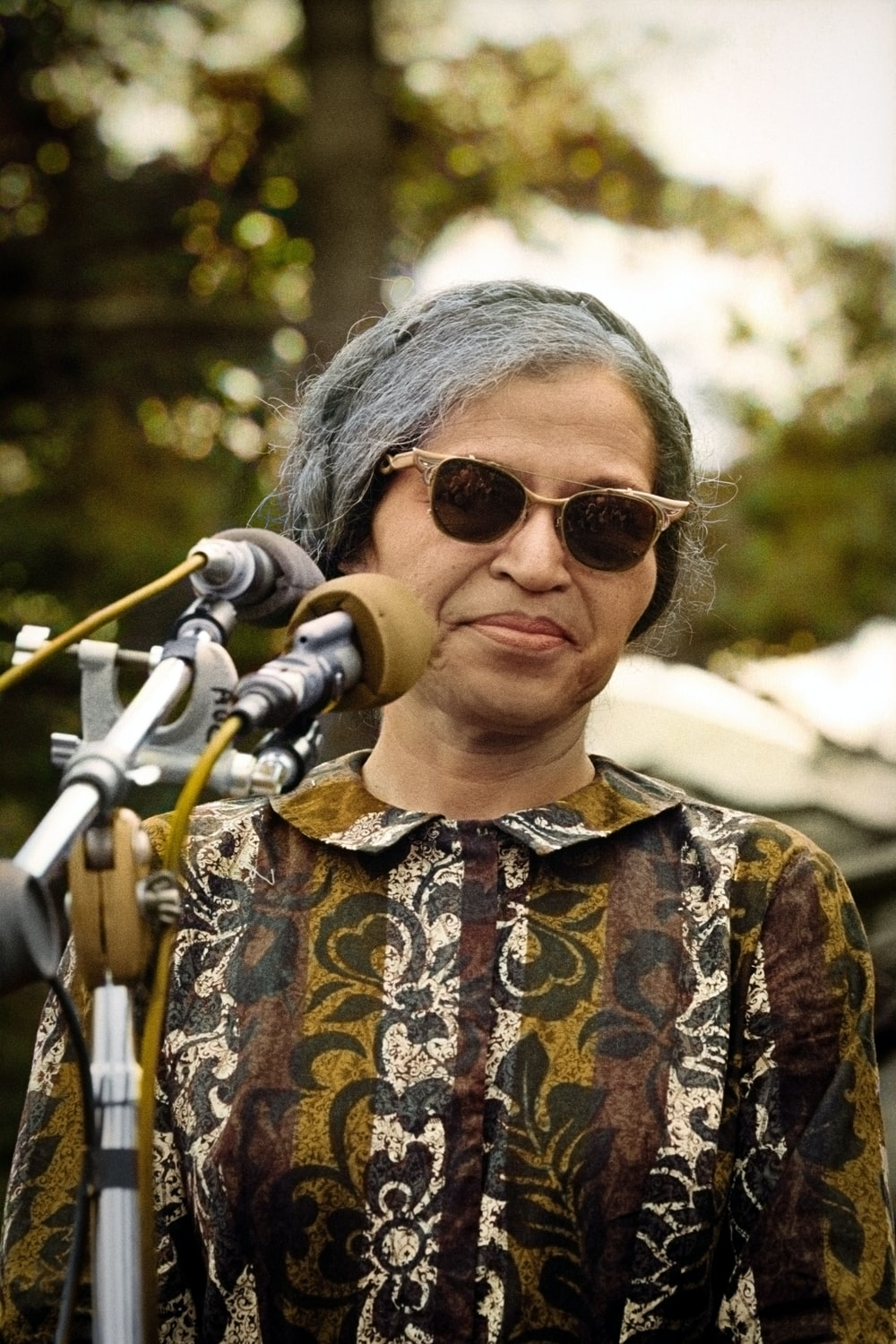 Rosa Parks gives a speech at the Poor Peoples March in 1968