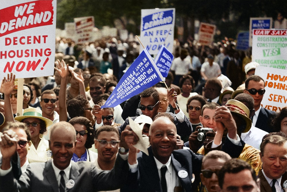 A crowd of demonstrators march during the Civil Rights March on Washington