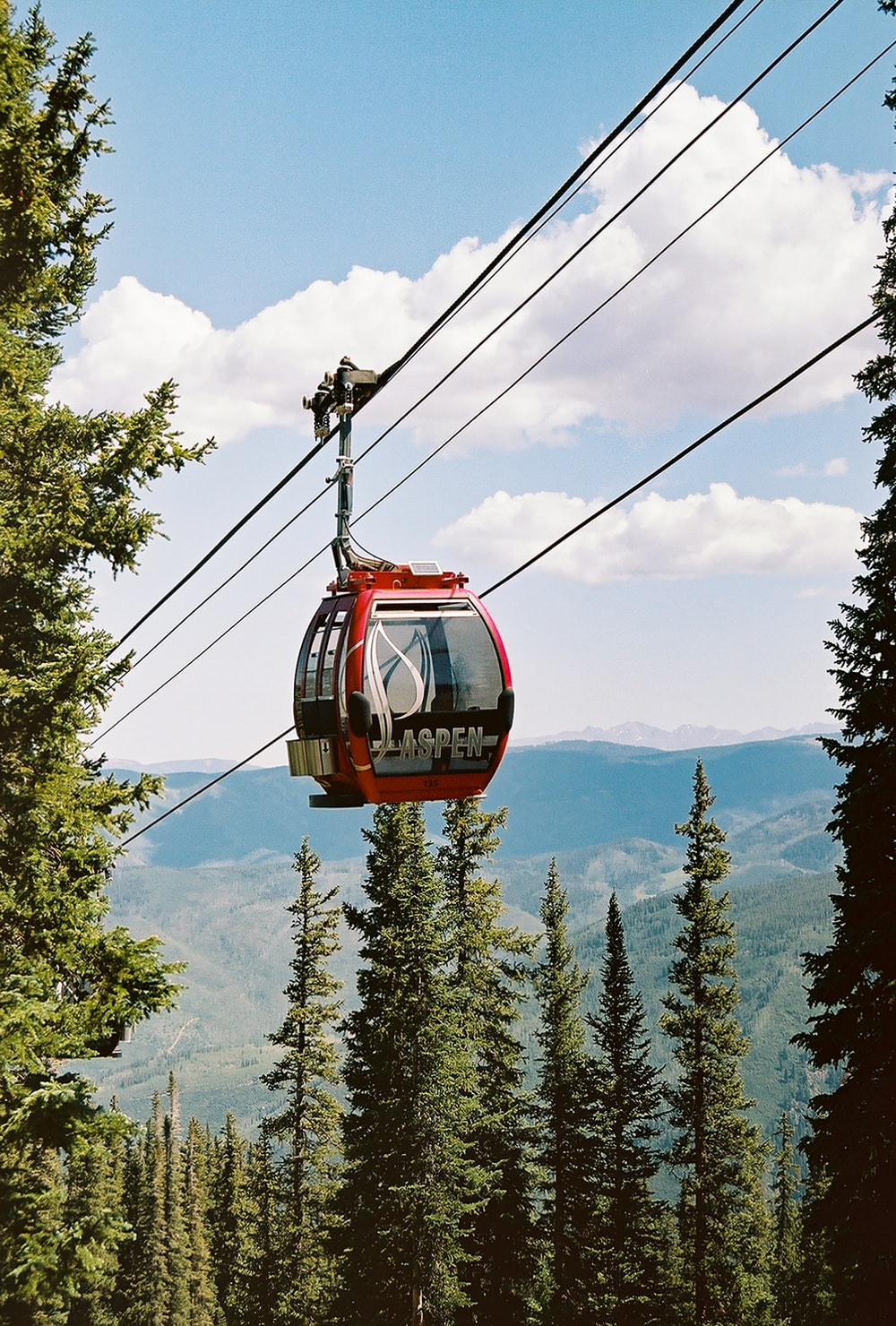 red cable car over green trees during daytime