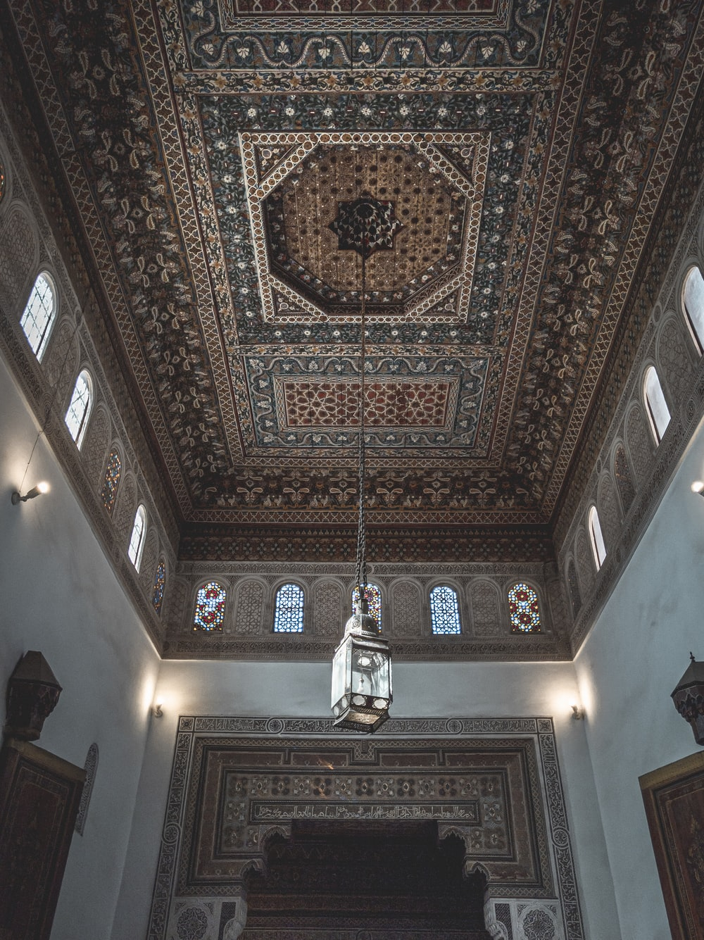 brown and black floral ceiling