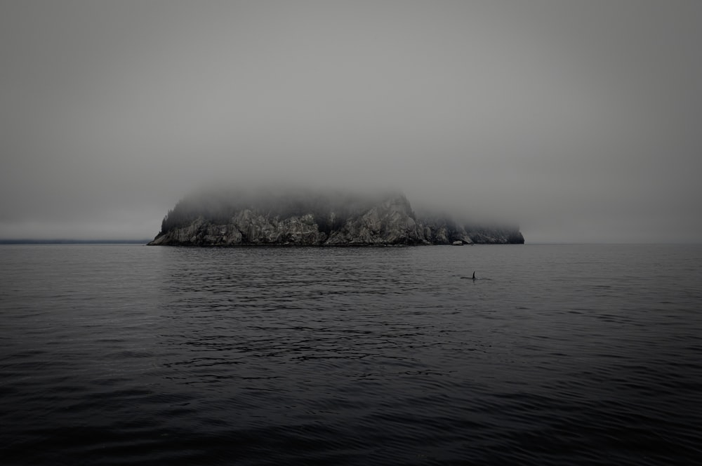 grayscale photo of island on sea