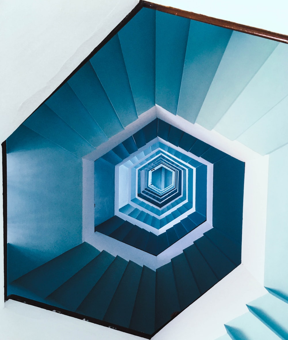 blue and white spiral stairs