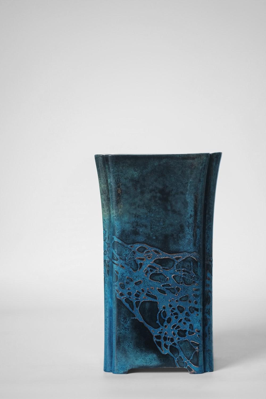 blue and black floral vase