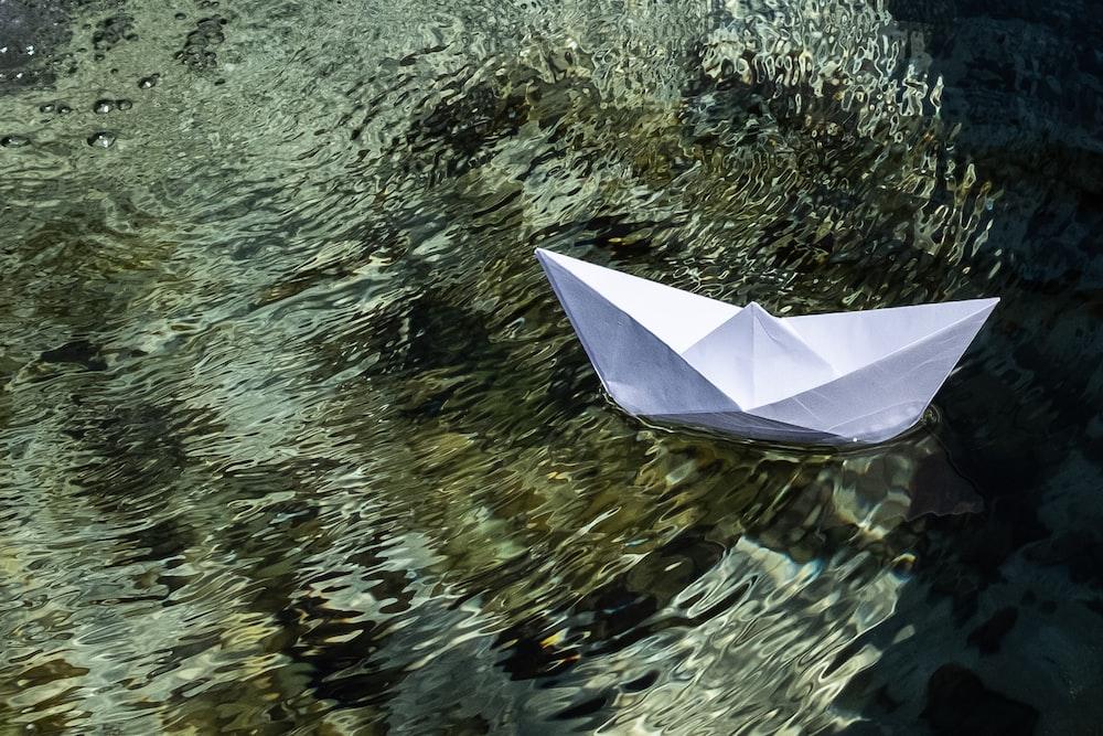 white umbrella on body of water