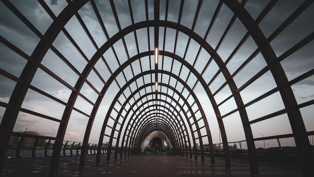 people walking on a tunnel
