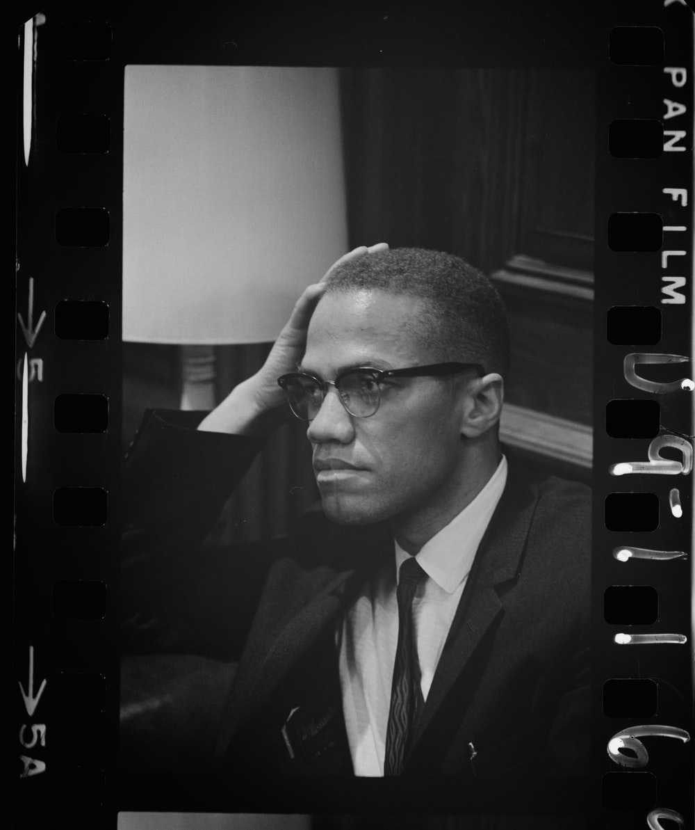 Head and shoulders portrait of Malcolm X