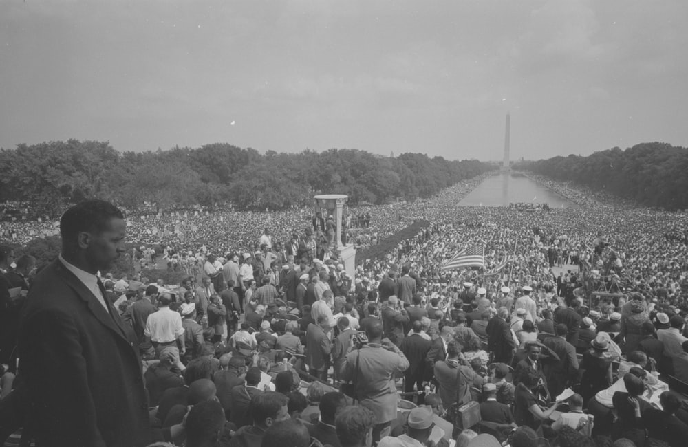 View of the huge crowd from the Lincoln Memorial to the Washington Monument, during the March on Washington