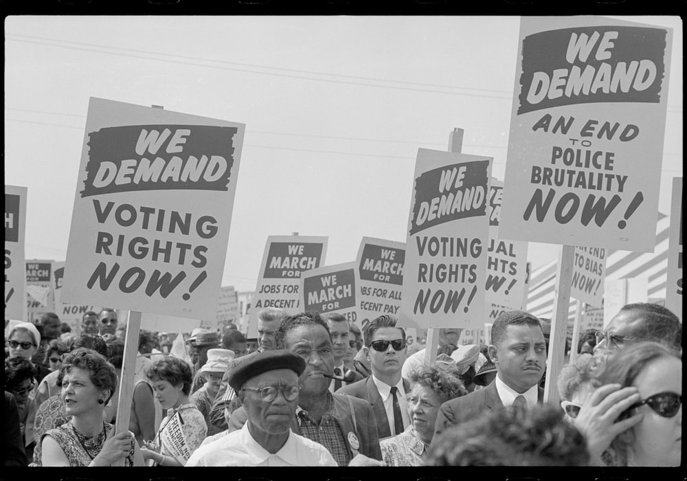 Marchers with signs at the March on Washington