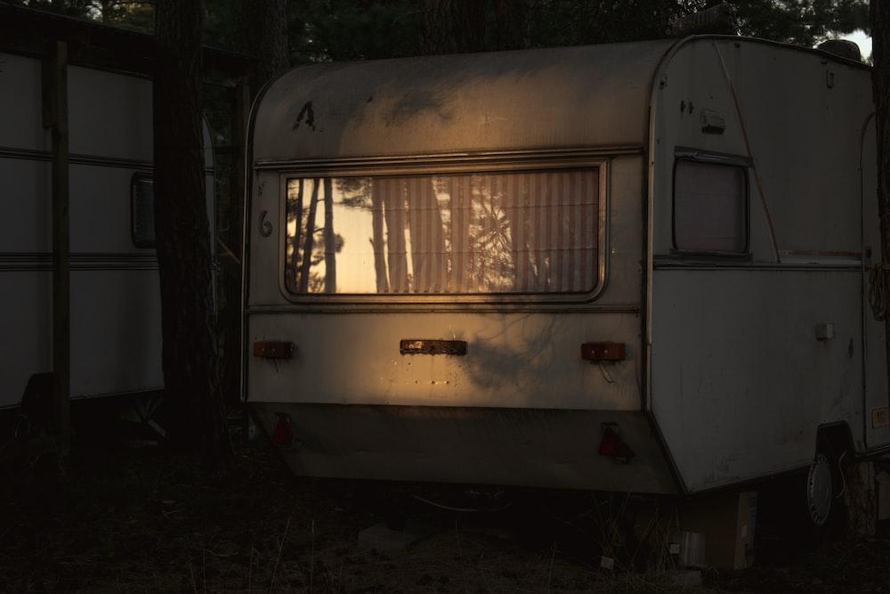 white van with brown door