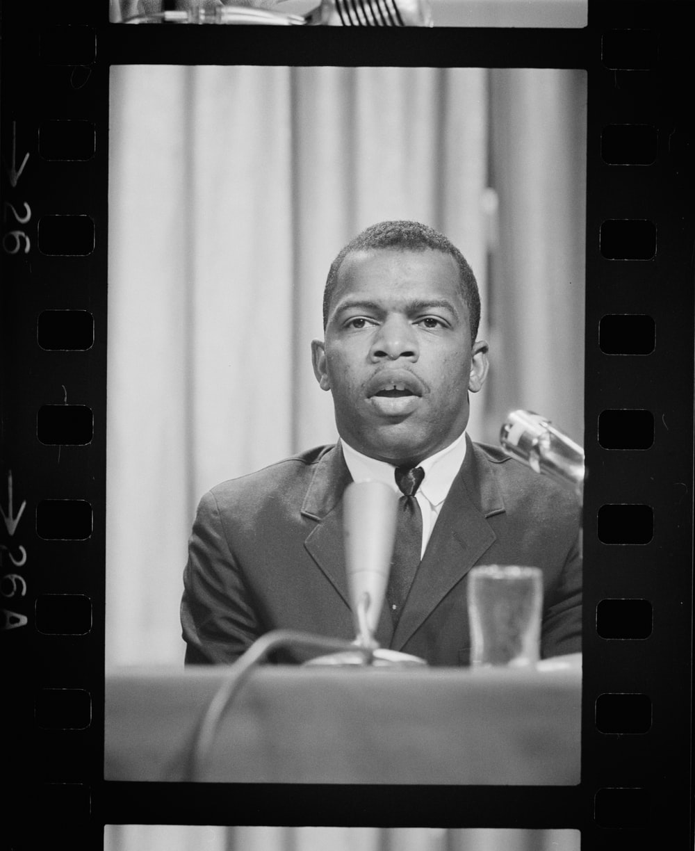 John Lewis speaking at a meeting of American Society of Newspaper Editors, Statler Hilton Hotel, Washington, D.C