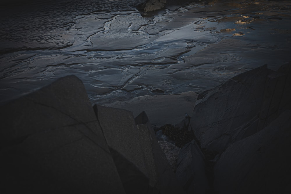 rocky river with ice blocks