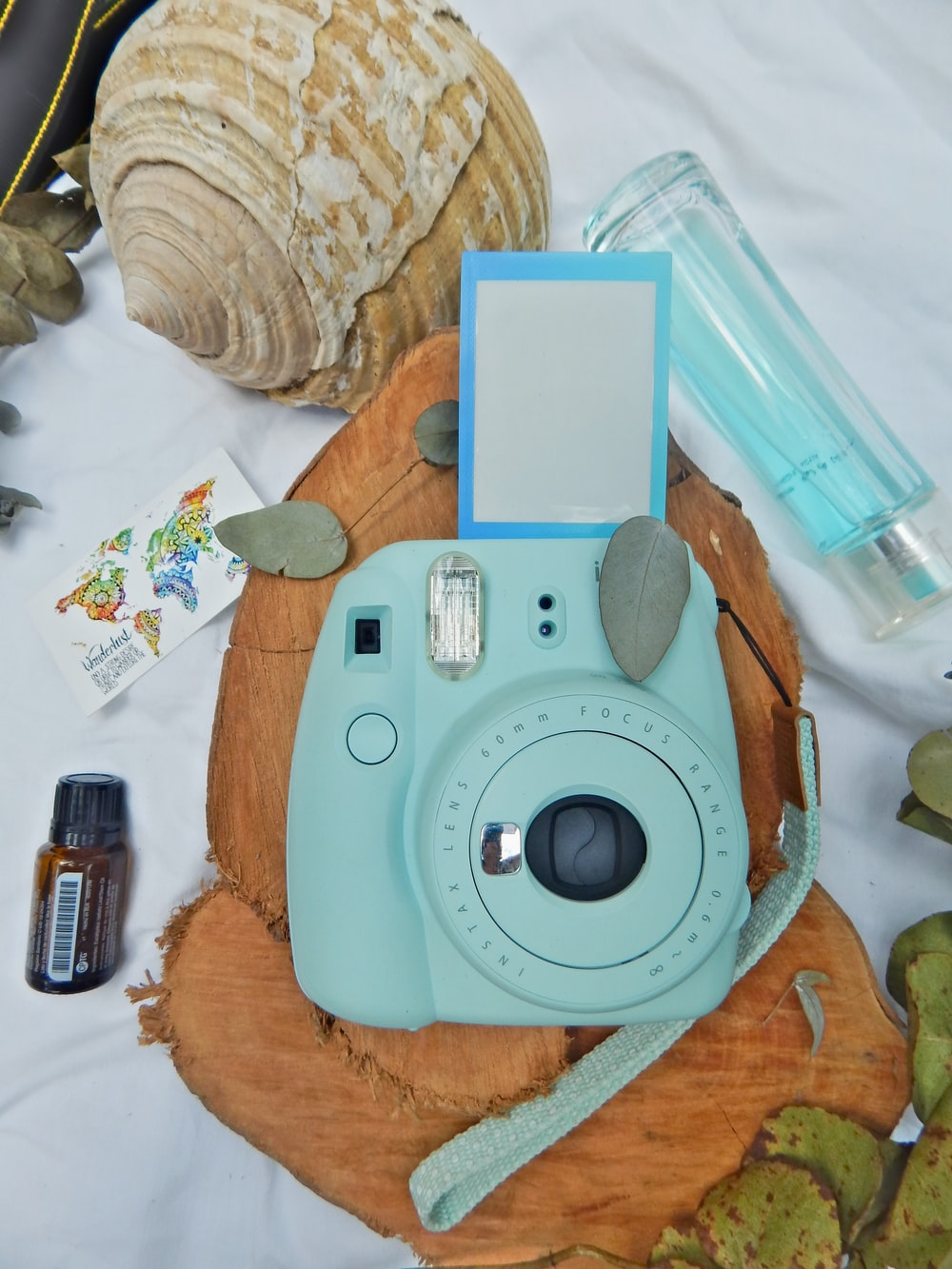 white and brown camera on brown wooden table