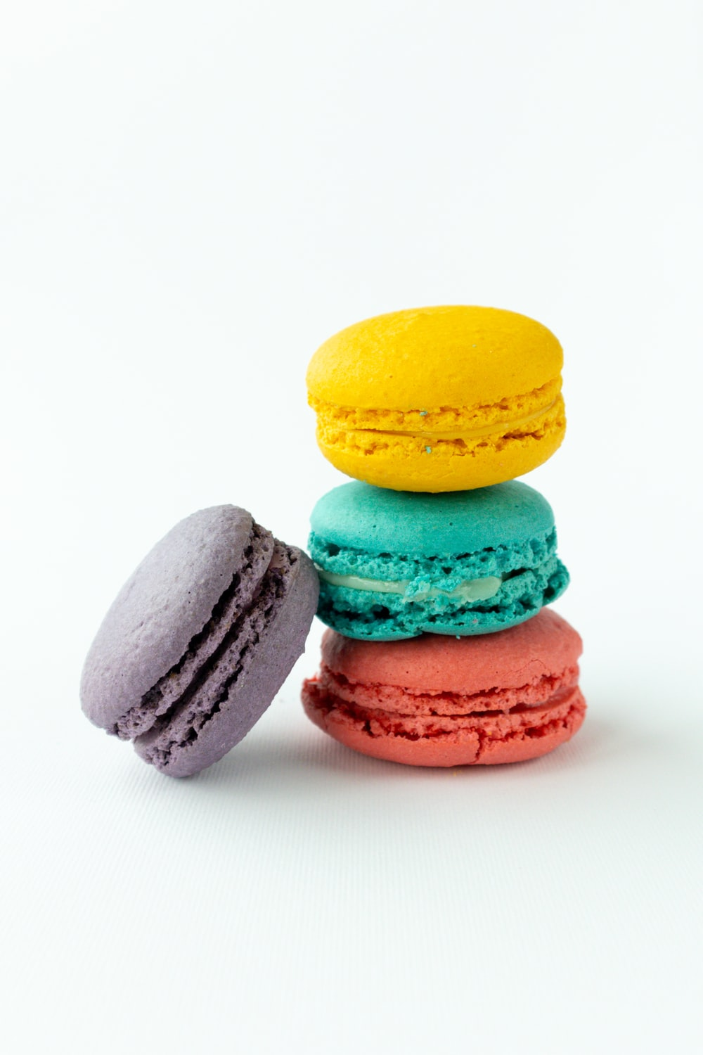 3 yellow pink and green macaroons